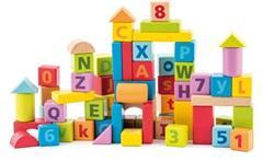 Stavebnice Woody Kostky pastelové, s písmeny a číslicemi, 60 ks