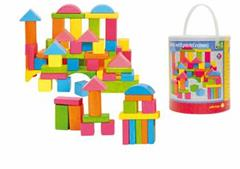 Stavebnice Woody kostky barevné - pastelové, 75 dílů