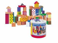 Stavebnice Woody kostky barevné, s potiskem, 50 dílů