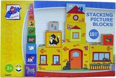 Hračka Woody Skládací věž z 10-ti kostek, 5 motivů: číslice,zvířátka, domeček, symboly, městečko