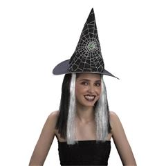 Karnevalový doplněk čarodějnický klobouk s vlasy